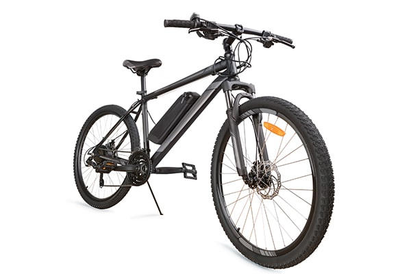 Classic electric bike in black with motor